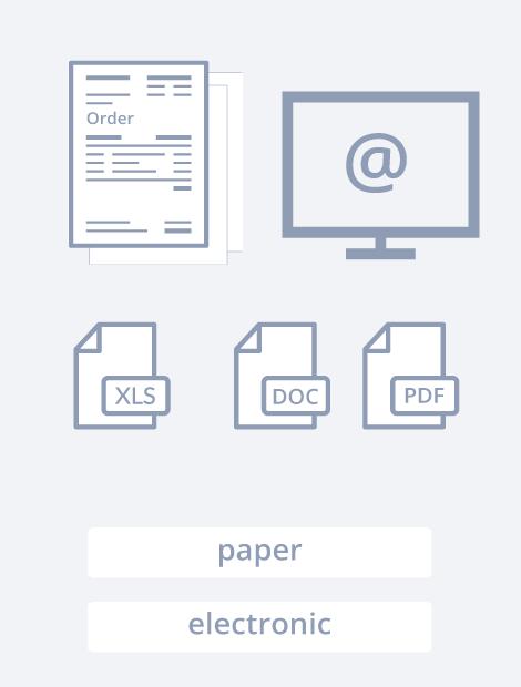"""La solution capture des bons de commande composé de 4 étapes. L'étape 1 est """"Importation"""". Dans cette étape, toutes vos factures sont importées via des scans, fax, courriels, SFTP, votre ERP, etc."""